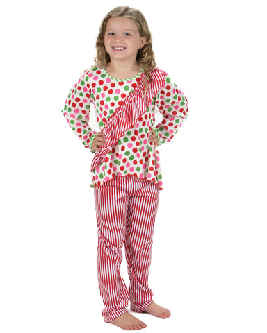 Laura Dare Magical Dots Vertical Ruffle Pajamas (2T-14)