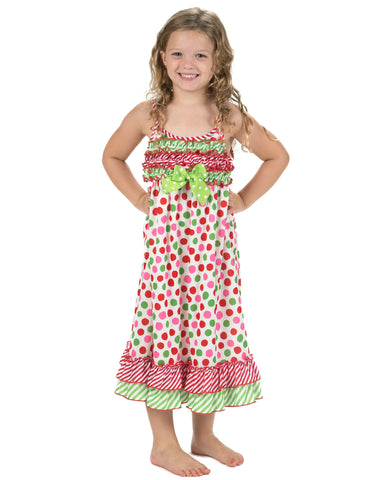 Laura Dare Magical Dots Spaghetti Strap Nightgown (2T-14)