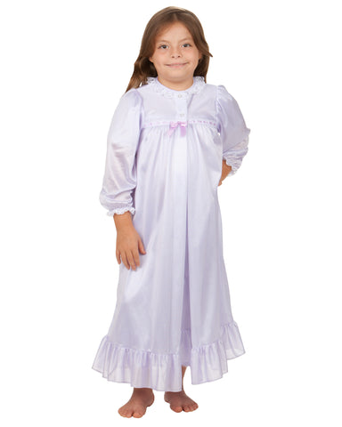 Laura Dare Girls Long Sleeve Traditional Peignoir Set (6 Colors Available)