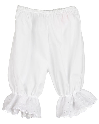 Girls White Pantaloon Pettipants Bloomer Under-pants Slip, (3m - 6x)