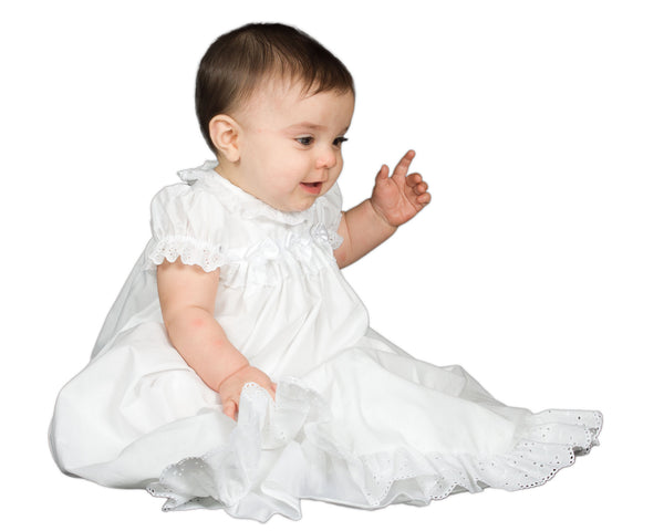Baby Girls White Christening Gown & Bonnet (NB - 9m)