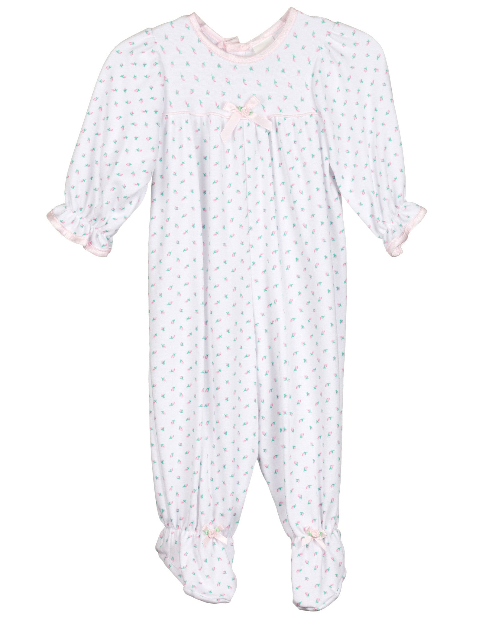 Baby-Girls Cotton Rosebud Footed Jumpsuit (NB-9m)