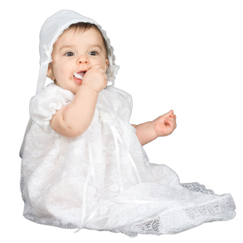 Baby Girls White Fully Lined Puff Sleeve Lace Christening Gown & Bonnett (3-24m)