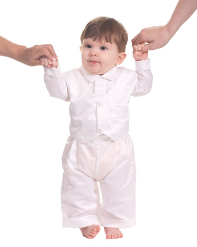 Baby Boys White Boys 3-Piece Christening Suit and Vest (3-24m)