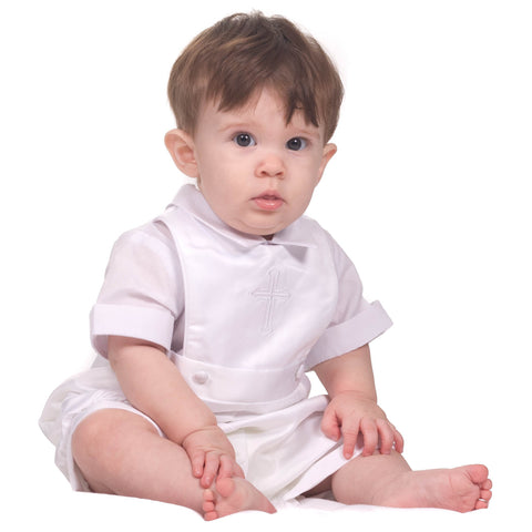Baby Boys White 1-Piece Shortall Christening Set (3-9m)