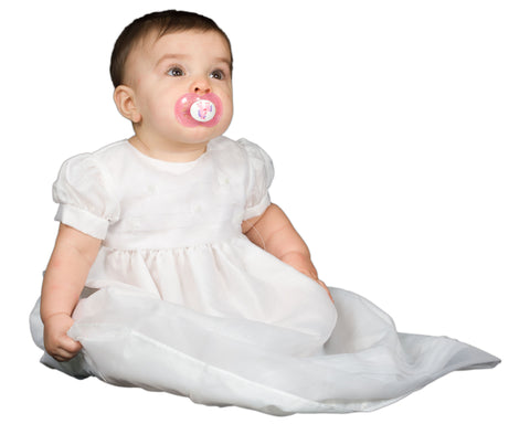 Baby Girls White Fully Lined Sheer Organza Christening Gown (3m-24m)