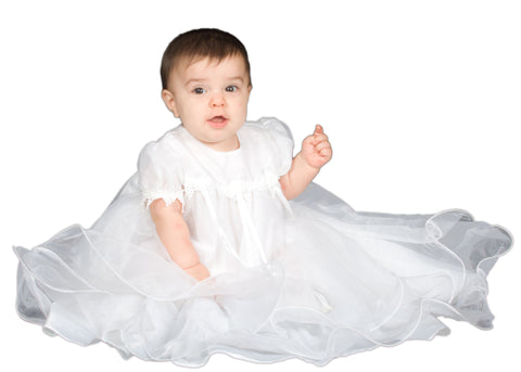 Baby Girls White Lined Sheer Organza Full Christening Gown & Bonnet (3-9m)