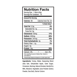 nutrition information for OSTRIM Applewood Turkey Sticks