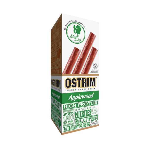 Box of OSTRIM Applewood Turkey Sticks