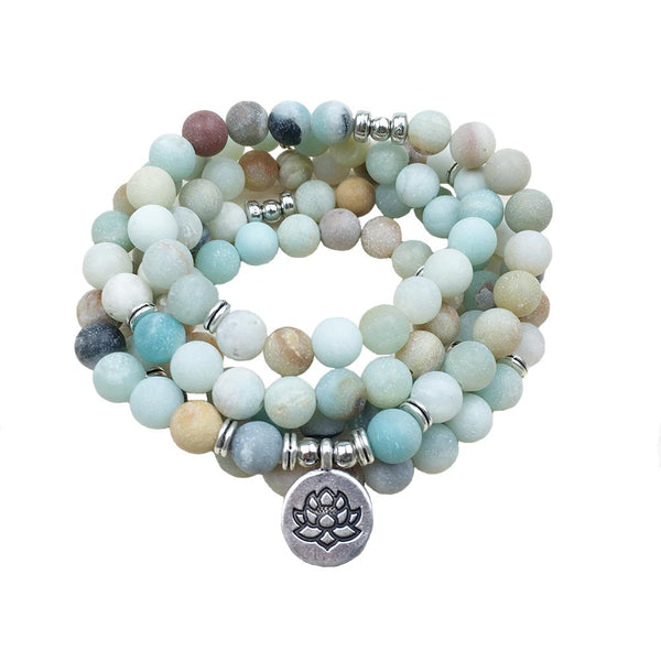 Courage Mantra Mala-Amazonite Stone