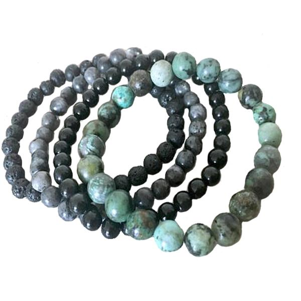 African Turquoise, Onyx, Lava Stone And Labradorite Bracelet