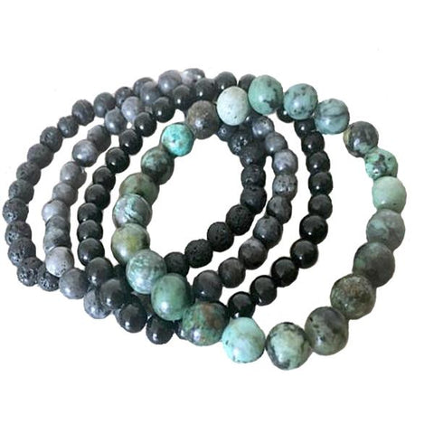 African Turquoise, Onyx, Lava Stone And Labradorite Bracelet - Store Without A Door