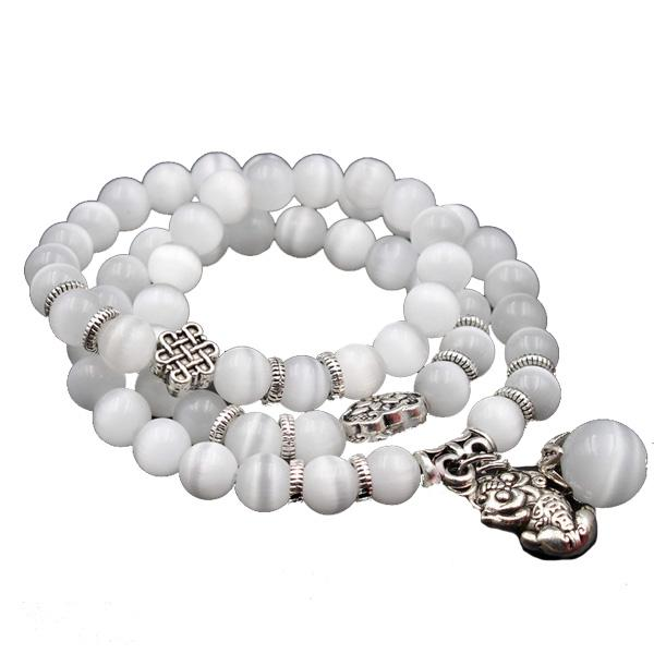 Positive Vibrations Mantra Mala-White Opal Stone