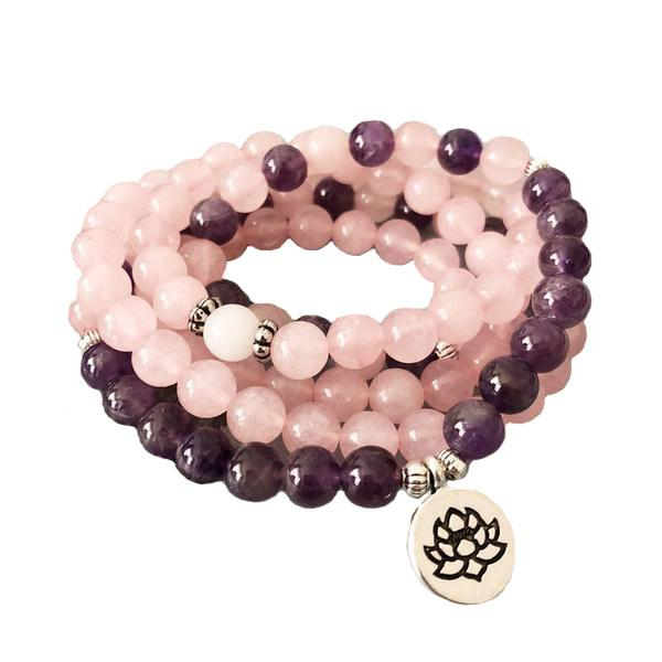 Rose Quart And Amethysts Mala