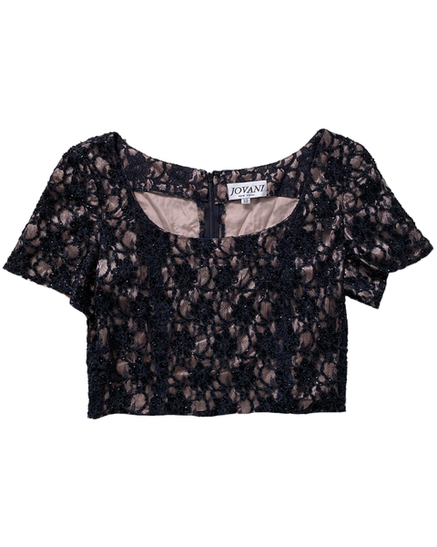 Black Lace Vintage Crop-Top