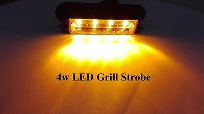 4W Amber 12v-24v Grille FLashing LED Strobe Lights - STL LED ONLINE