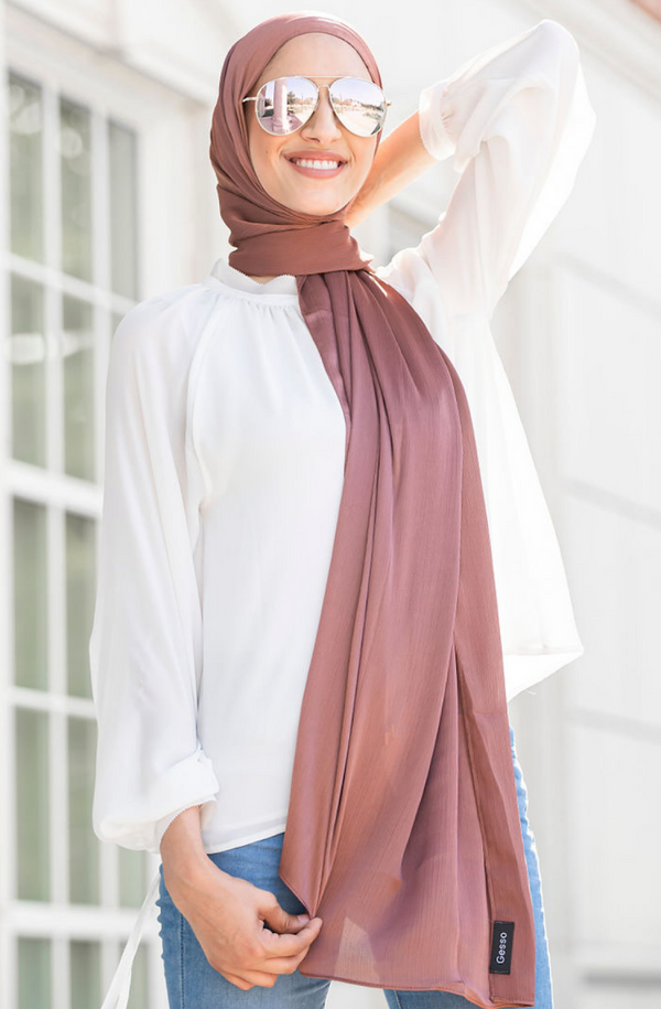 SATIN GEORGETTE CREPE DEEP ROSE GOLD