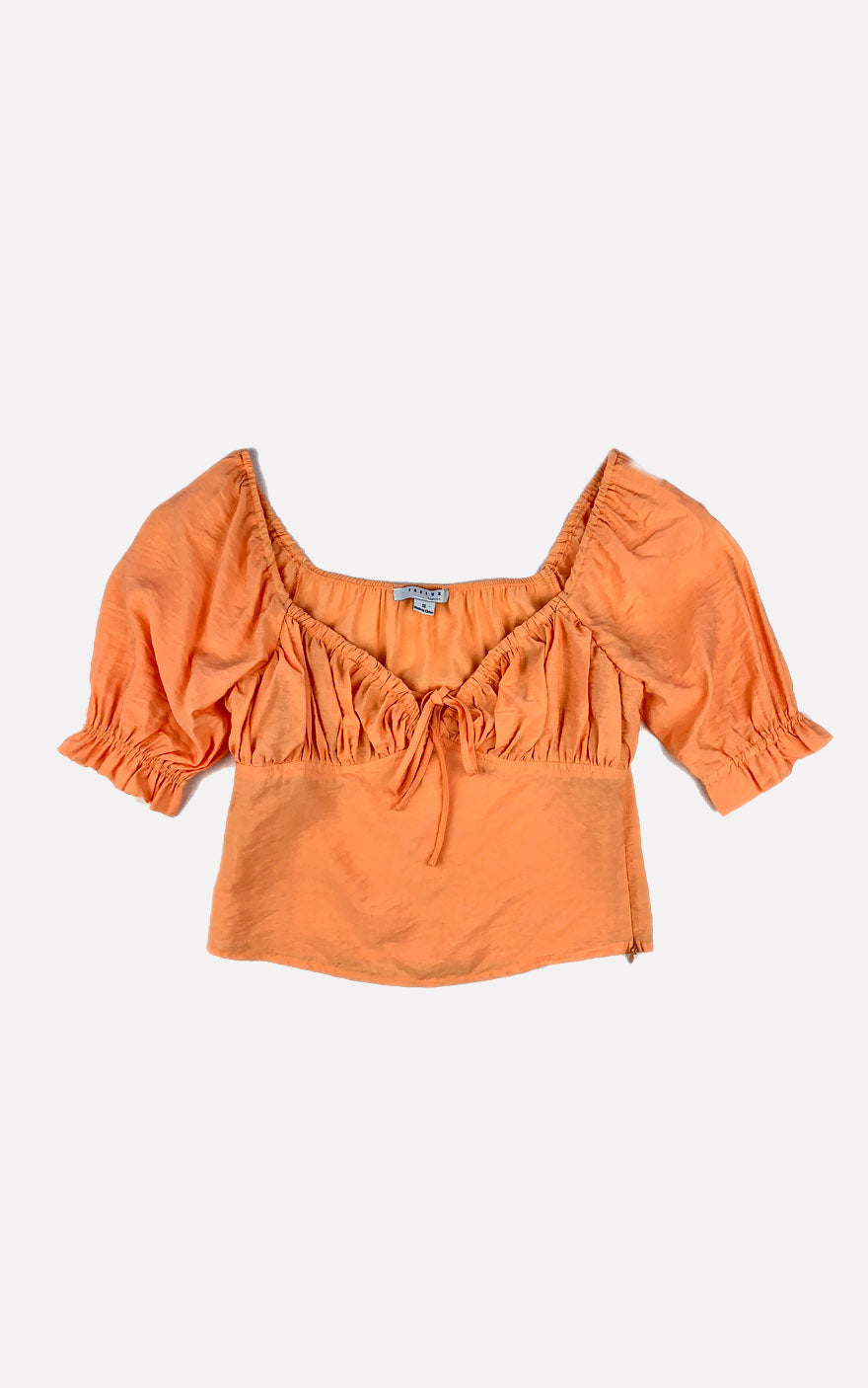 Orange Puff Sleeve Blouse