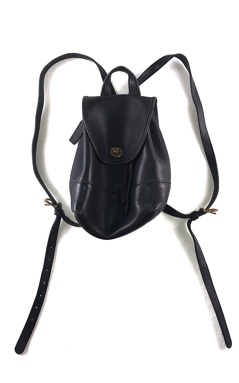COACH Black Leather Backpack