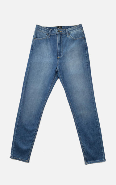 High Rise Ankle Skinny Blue Jeans