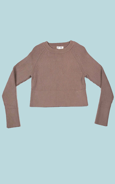 Cropped Ribbed Sweater Mocha