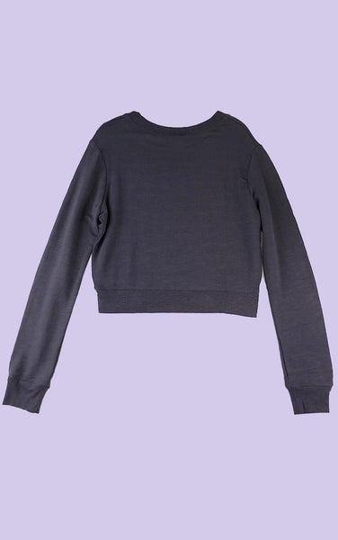 Cropped Crew Neck Sweatshirt Charcoal