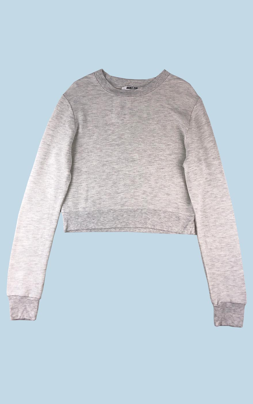 Cropped Crew Neck Sweatshirt Light Grey