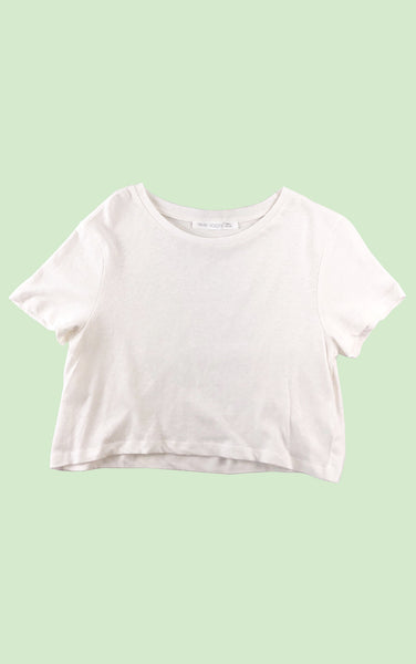 Cropped Cotton-Linen Tee in Off-White