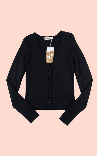 Soft Rib Multi Button Cardigan in Black