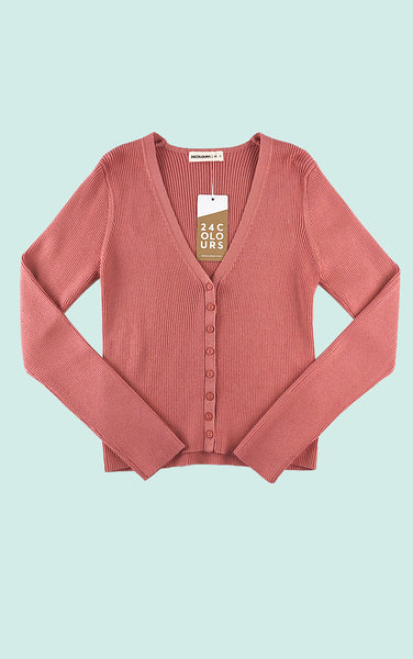 Soft Rib Multi Button Cardigan in Pink