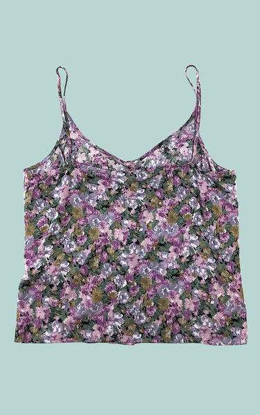 Floral Button Down Tank in Purple