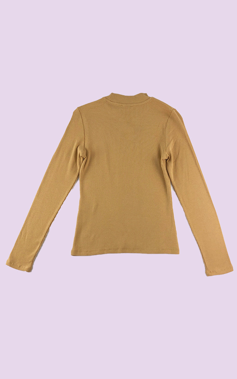 Micro Rib Mock Neck Top in Mustard