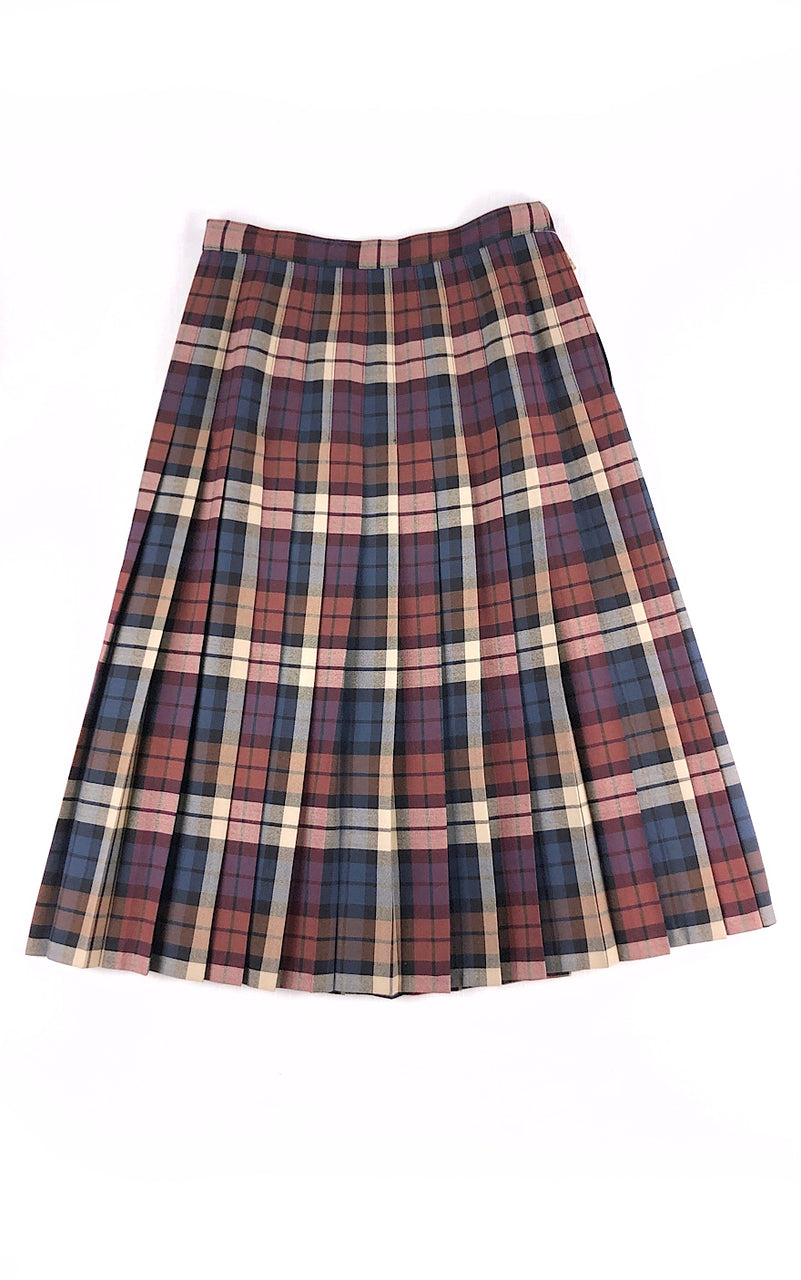 Checked & Pleated Wool Skirt