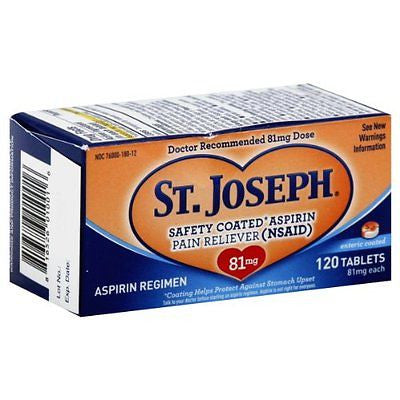 St. Joseph Aspirin 81mg Enteric Coated Tablets - 120 Count
