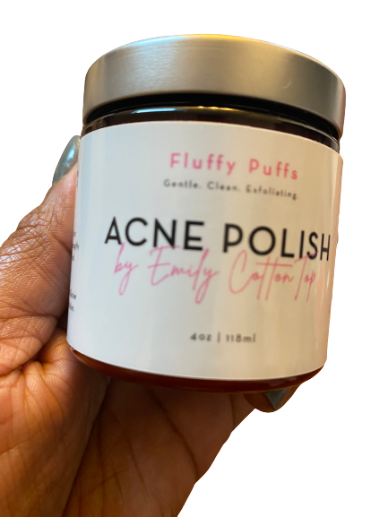acne polish @emilycottontop sugar scrub fluffy puffs