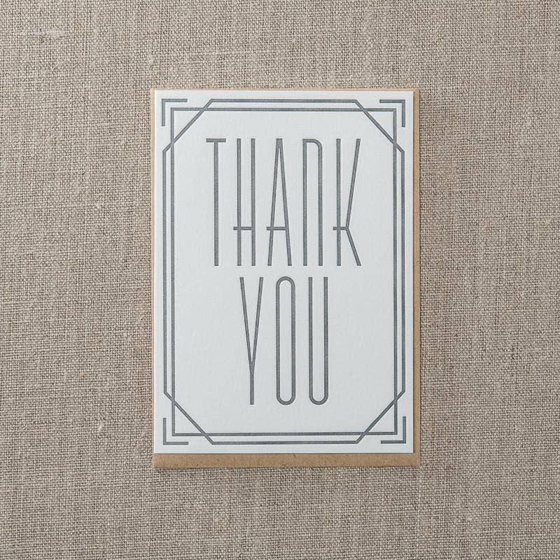Pike Street Press - Thank you Deco Simple Greeting Card - Notecard - Stomping Grounds
