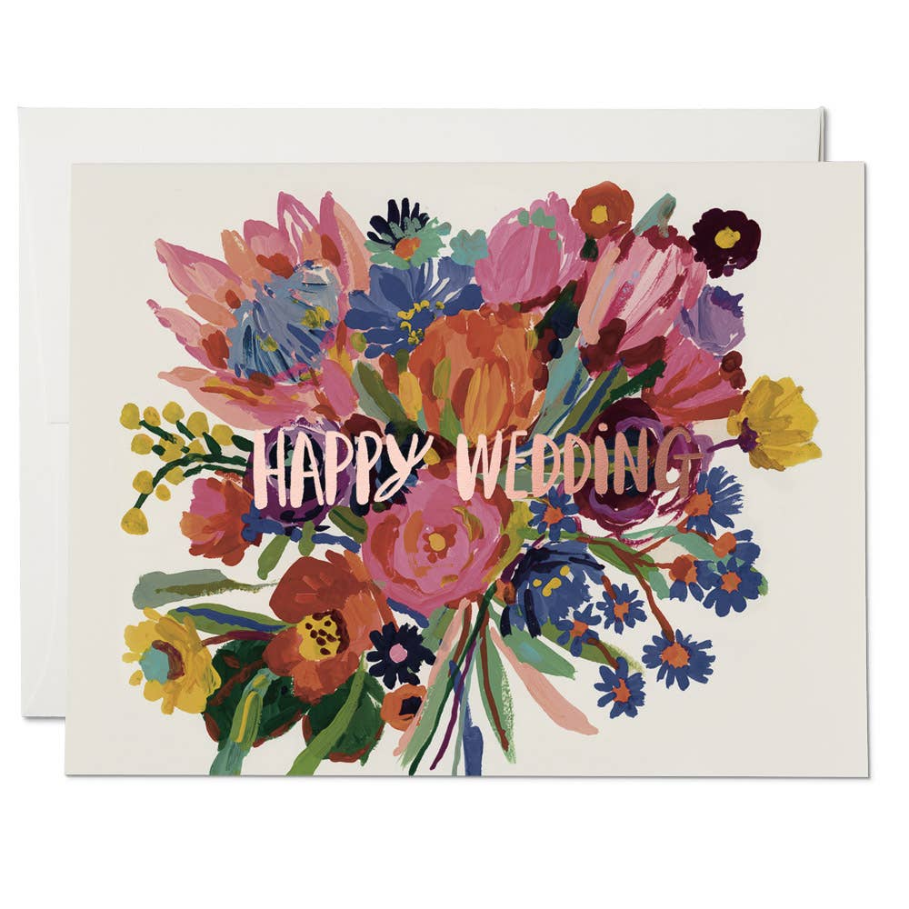 Red Cap Cards - Happy Wedding Flowers - Notecard - Stomping Grounds
