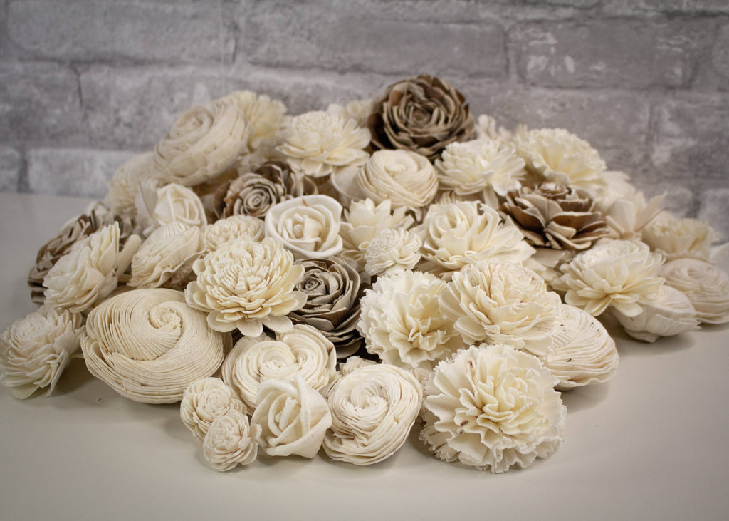 Sola Wood Flowers - 100 Random Assorted Wood Flowers -  - Stomping Grounds