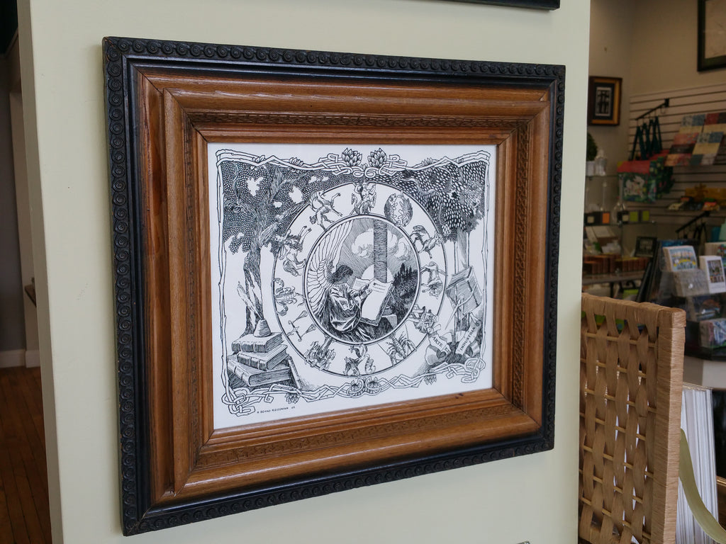 Nouveau art print with zodiac in vintage frame