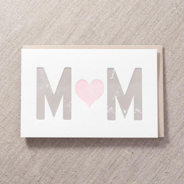Pike Street Press - Mom Pink Heart Card - Notecard - Stomping Grounds