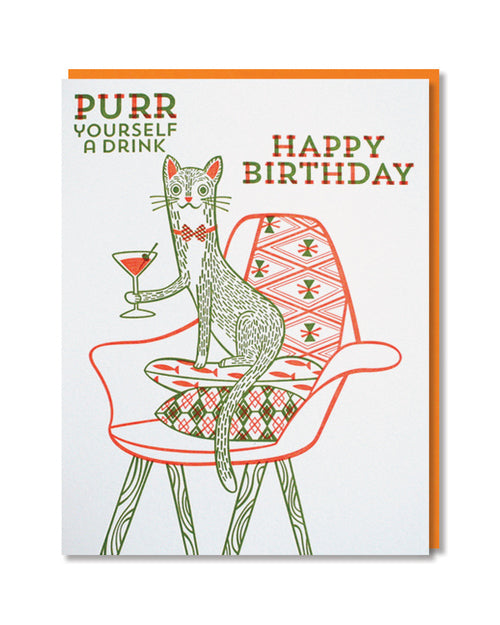 Paper Parasol Press - Purr Yourself a Drink Birthday Card -  - Stomping Grounds
