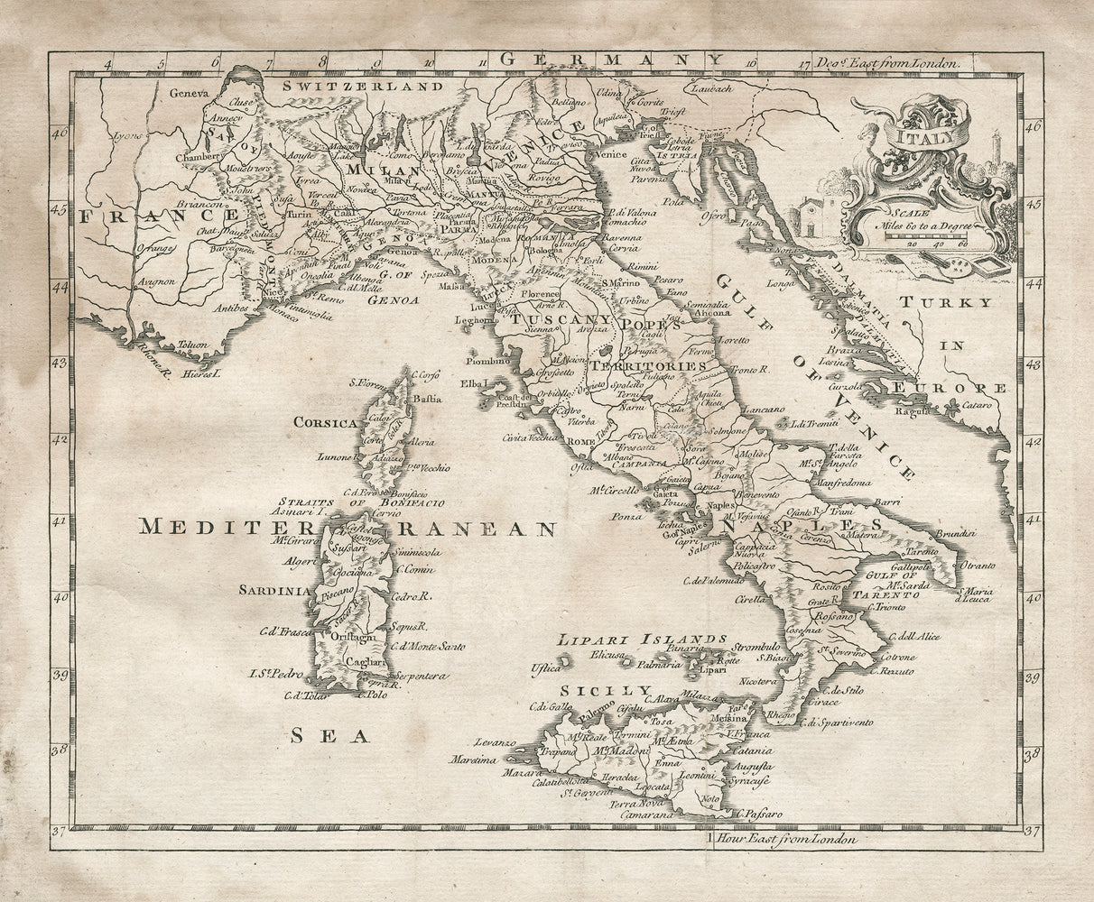 1764 Map of Italy - Print - Stomping Grounds
