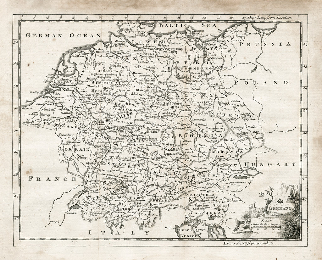 1764 Map of Germany - Print - Stomping Grounds