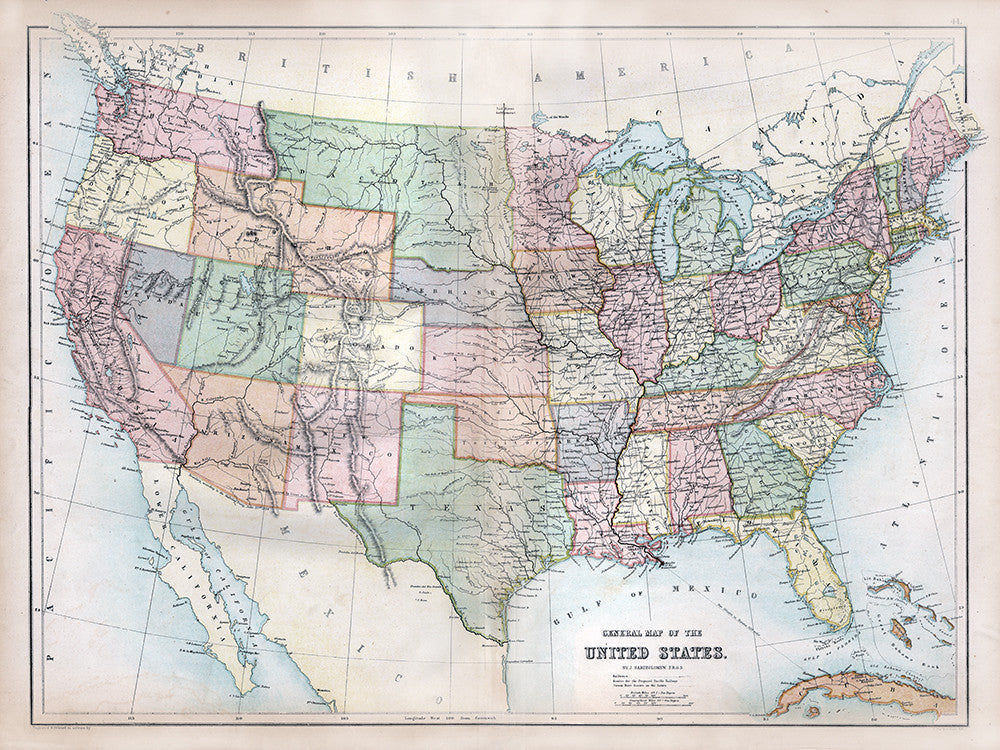 General Map of the United States (1867) - Print - Stomping Grounds