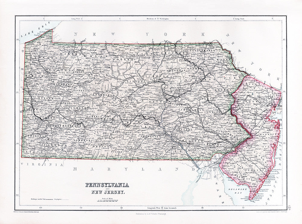 Pennsylvania and New Jersey (1867) - Print - Stomping Grounds