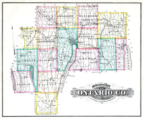Map of Ontario County, NY 1876 - Print - Stomping Grounds