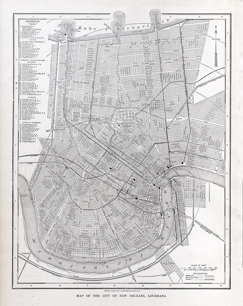 Map of The City of New Orleans , Louisiana - Print - Stomping Grounds