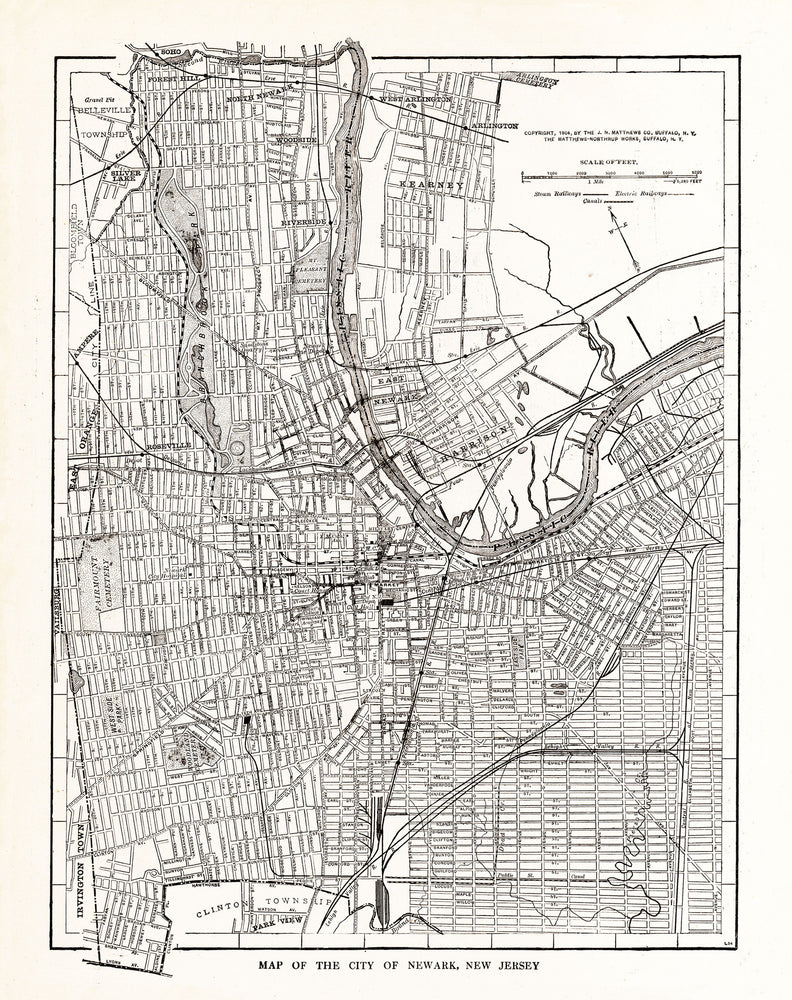 Map of The City of Newark, New Jersey - Print - Stomping Grounds