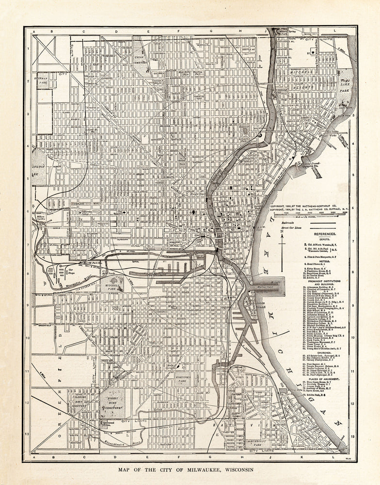 Map of The City of Milwaukee, Wisconsin - Print - Stomping Grounds