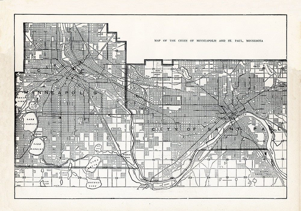 Map of The Cities of Minneapolis and St. Paul, Minnesota - Print - Stomping Grounds